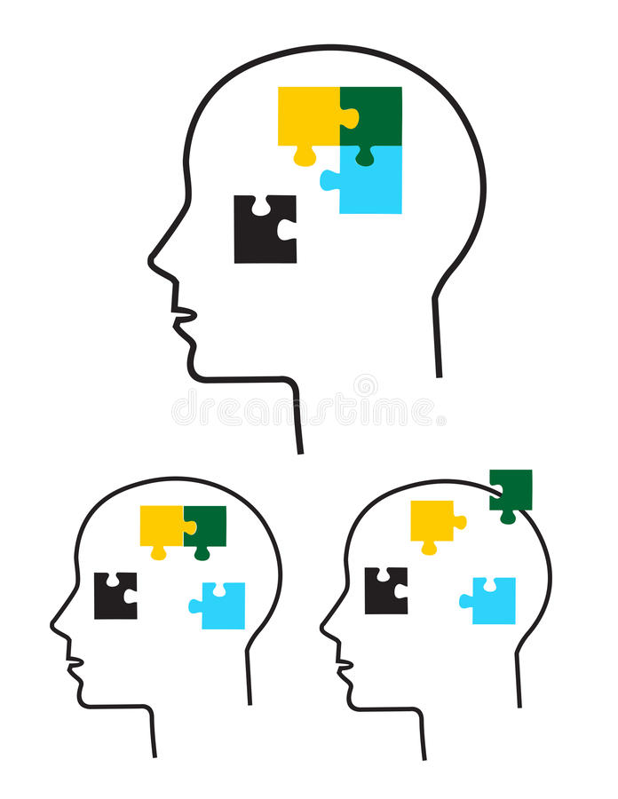 Human heads with puzzle pieces royalty free illustration