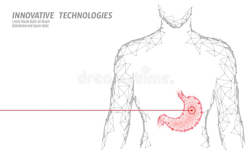 Human healthy medicine drug treatment stomach. Internal digestion organ. Low poly connected dots gray white triangle. Future technology design background vector stock illustration