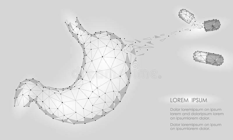 Human healthy medicine drug treatment stomach. Internal digestion organ. Low poly connected dots gray white triangle future techno. Logy design background royalty free illustration
