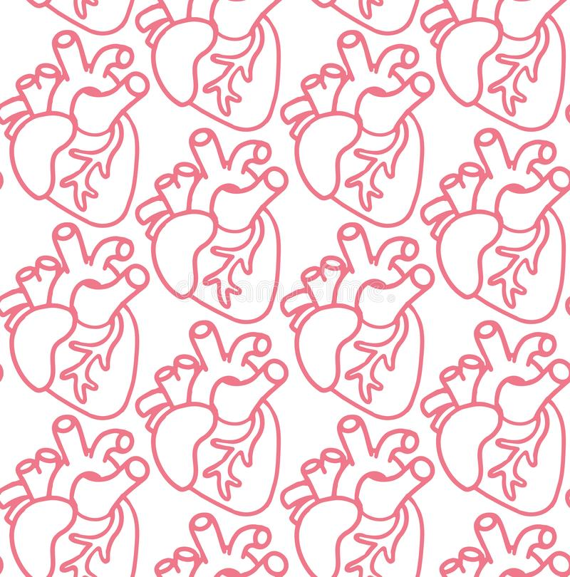 Human heart seamless pattern. Vector icons on the wight background. Medicine cartoon doodle icons. Human hear seamless pattern. Vector icons on the wight stock illustration