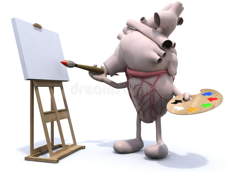 Download Human Heart With Arms And Legs Painter Stock Illustration - Illustration of blank, board: 34110611