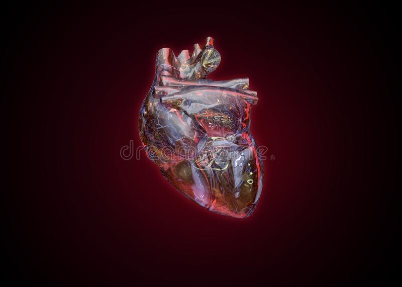 Human heart as fragile glass stock images