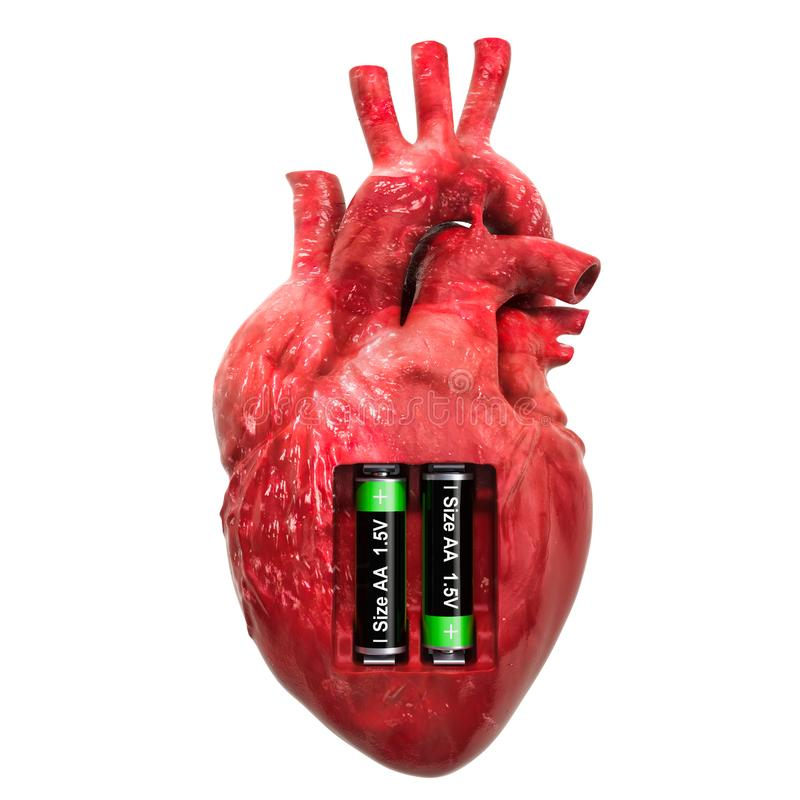 Human heart with batteries. Recovery and treatment concept. 3D rendering stock illustration