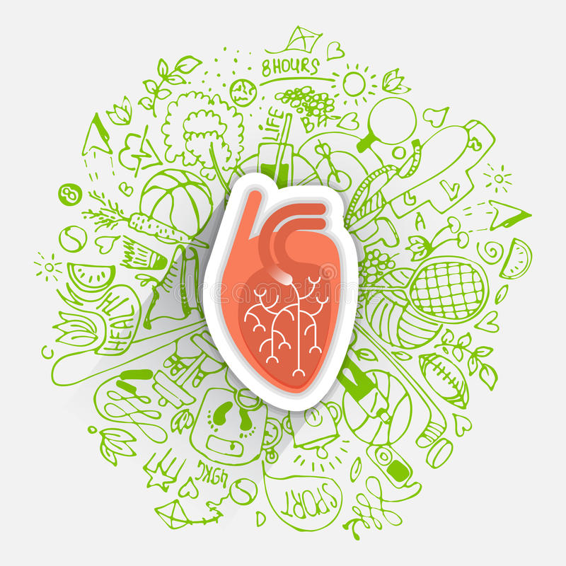 Human heart concept about healthy lifestyle and longevity with sketched elements royalty free illustration