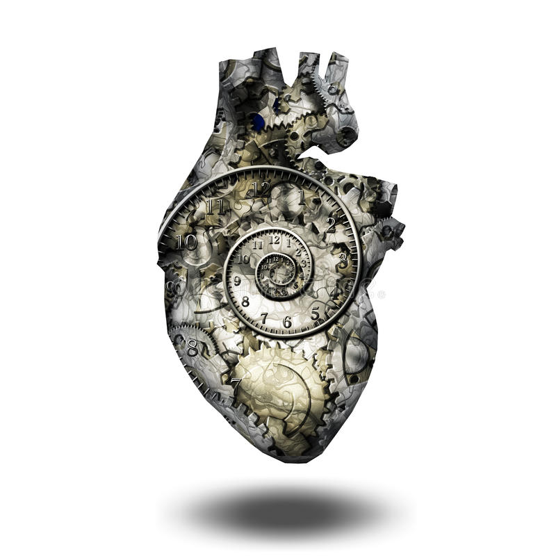 Human heart gears and time vector illustration