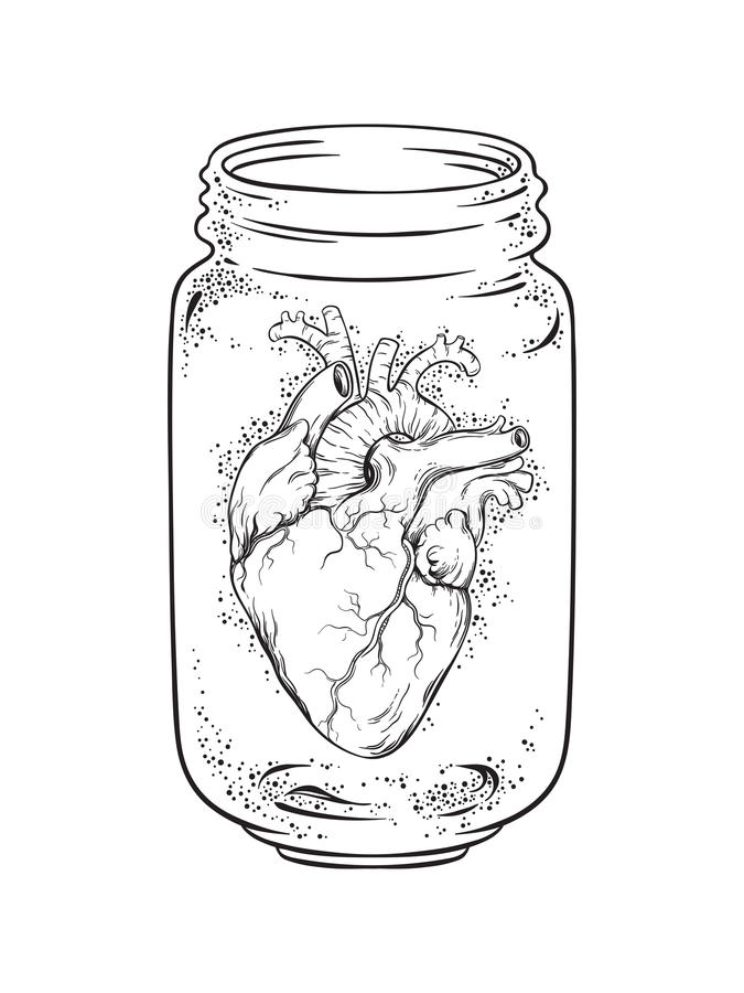 Human heart in glass jar isolated. Sticker, print or blackwork tattoo hand drawn vector illustration stock illustration