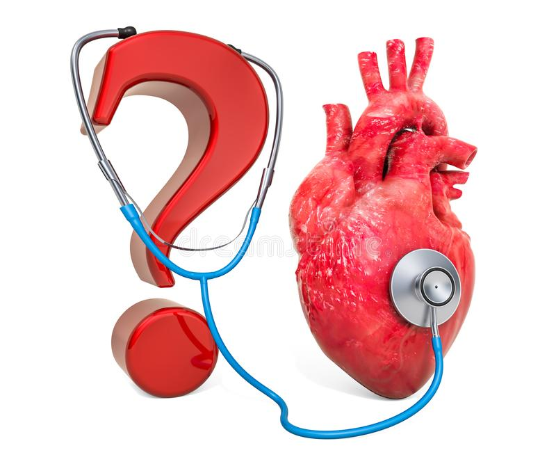 Human heart with question mark and stethoscope. Diagnosis and treatment of heart disease, concept. 3D rendering vector illustration