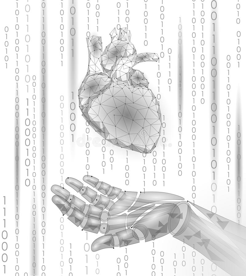 Human heart robot android hand low poly. Polygonal geometric particle design. Innovation medicine technology future. Humanoid doctor binary code background stock illustration
