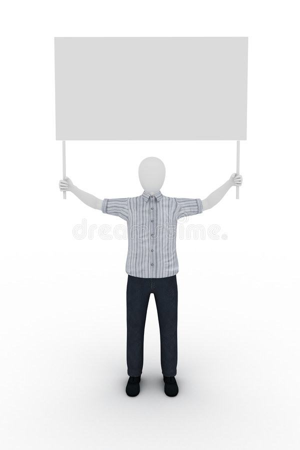 Human holding a billboard vector illustration