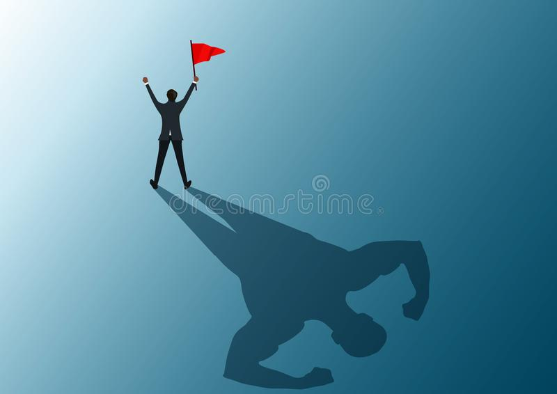 Human holding red flag to success with shadow man strong illustrator. Human holding red flag to success with shadow man strong vector illustration