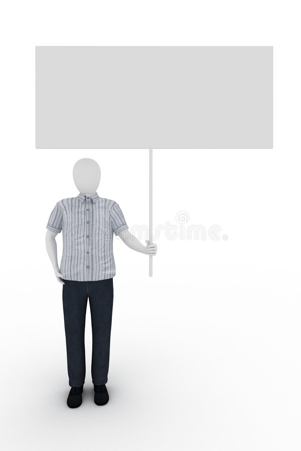 Human holds a billboard on white background stock illustration