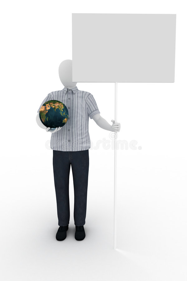 Human holds the world and banner royalty free illustration