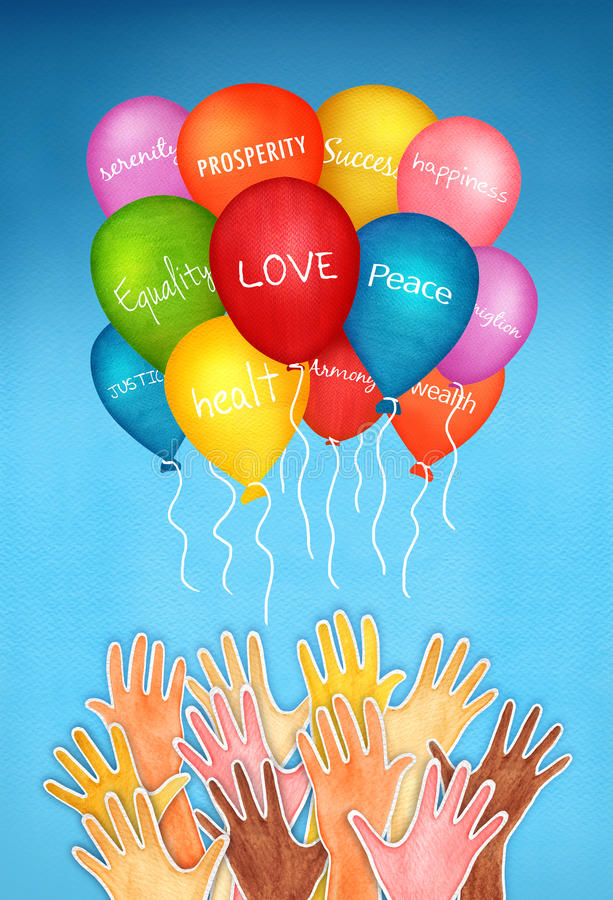Human Hopes. Illustration with multi ethnic hands releasing colored balloons with words of hope and wishes on blue sky background