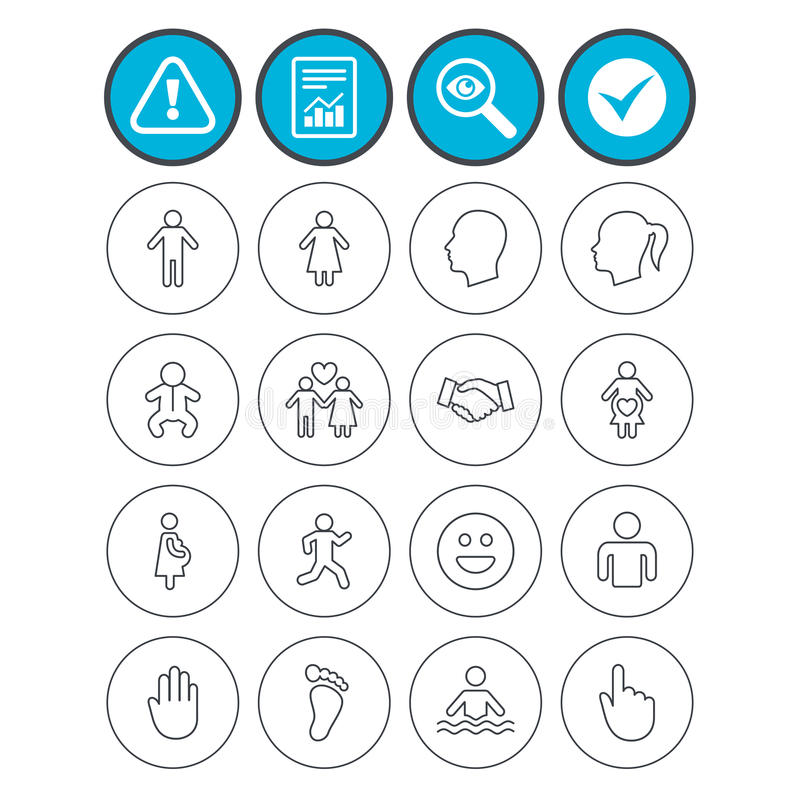 Human icons. Toddler and pregnant woman. Report, check tick and attention signs. Human icons. Male and female symbols. Infant toddler and pregnant woman. Happy royalty free illustration