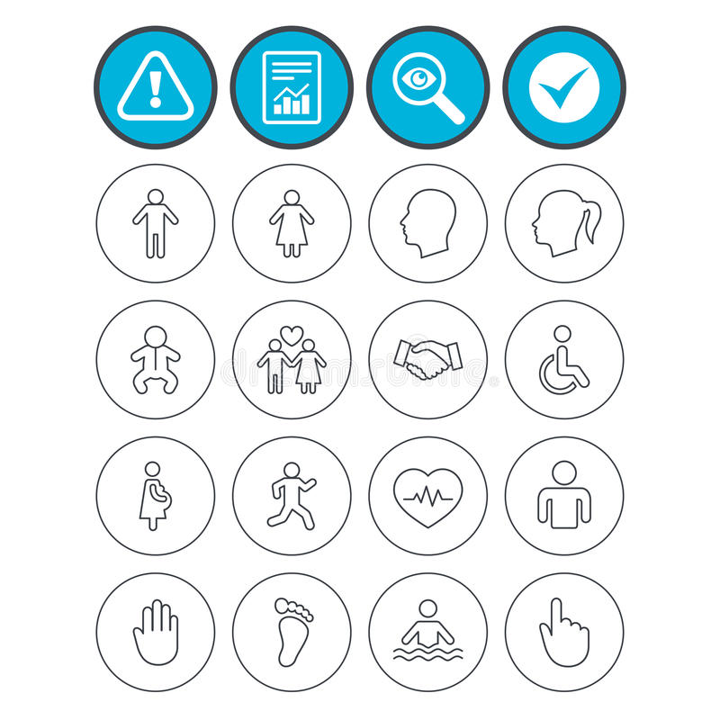 Human icons. Toddler and pregnant woman. Report, check tick and attention signs. Human icons. Male and female symbols. Infant toddler and pregnant woman stock illustration