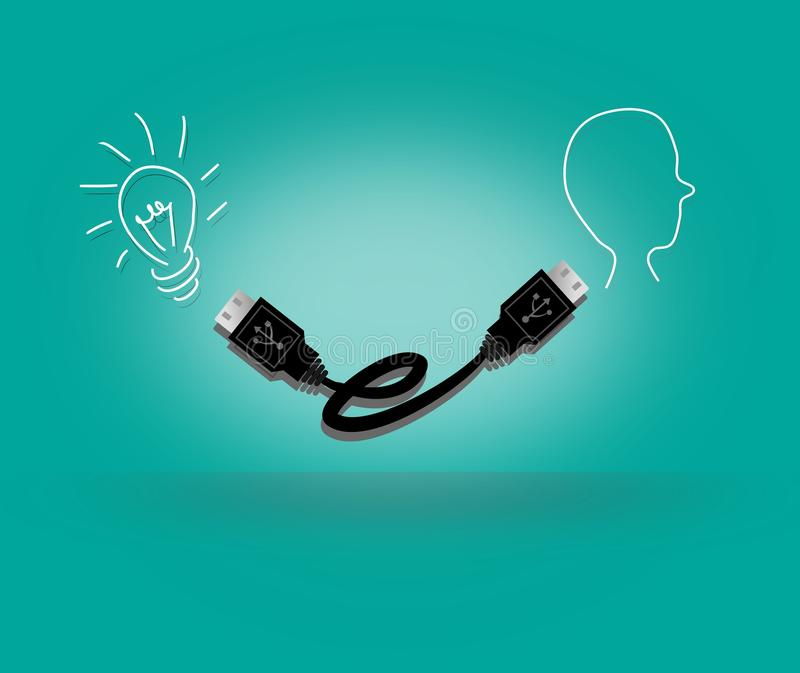 Human ideas. Bulb and human head connected with USB cable stock illustration