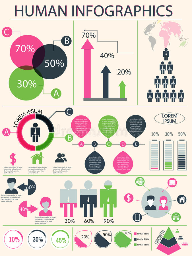 Human infographic template. royalty free illustration