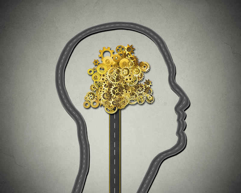 Human intelligence. Road shaped as face cogs gears mechanism stock photos