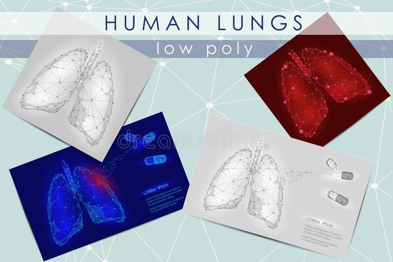 Human Internal Organ Lungs. Low Poly technology design. White Gray color polygonal triangle connected dots. Health. Medicine icon background vector illustration royalty free illustration