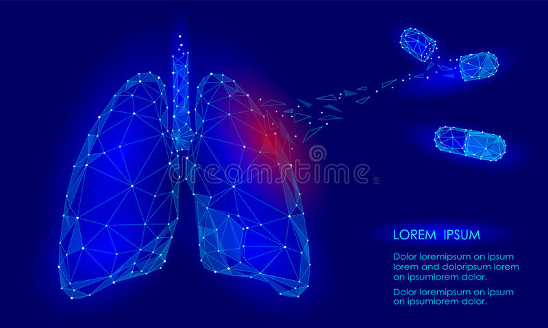 Human Internal Organ Lungs Medicine Treatment Drug. Low Poly technology design. Red injury pain area polygonal triangle connected dots. Health medicine icon stock illustration