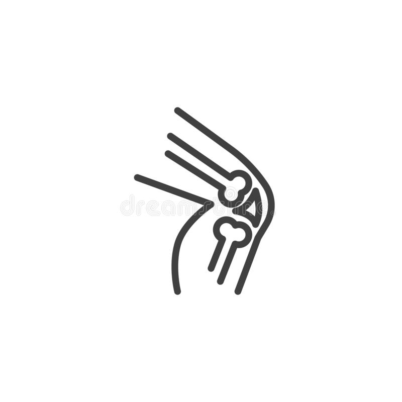 Human knee joint line icon. Linear style sign for mobile concept and web design. Knee pain outline vector icon. Symbol, logo illustration. Vector graphics vector illustration