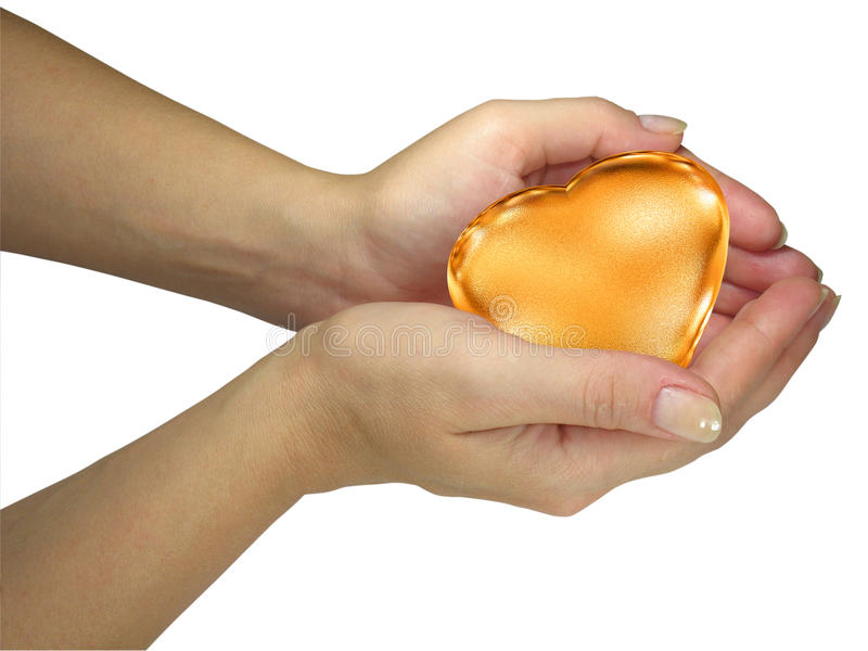 Human Lady Hands Holding Golden Heart Royalty Free Stock Photo