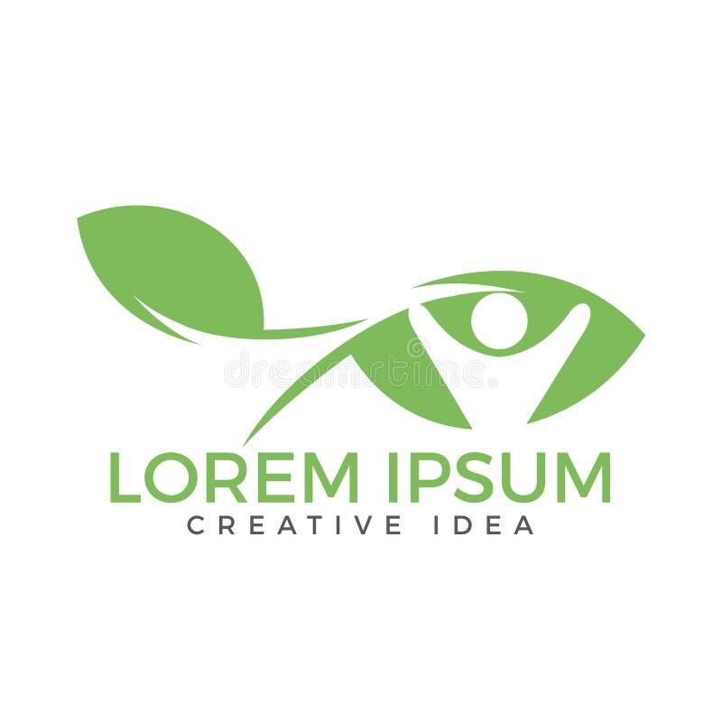 Human Leaf Logo Design. Health and nature logo design. royalty free illustration