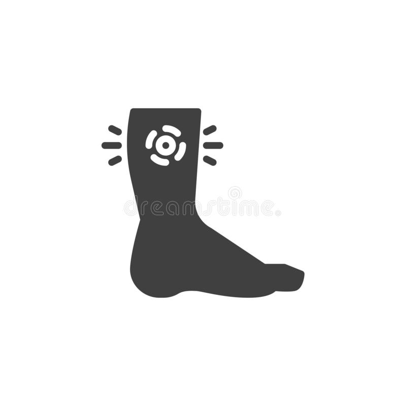 Human leg pain vector icon. Filled flat sign for mobile concept and web design. Leg injury glyph icon. Symbol, logo illustration. Vector graphics royalty free illustration