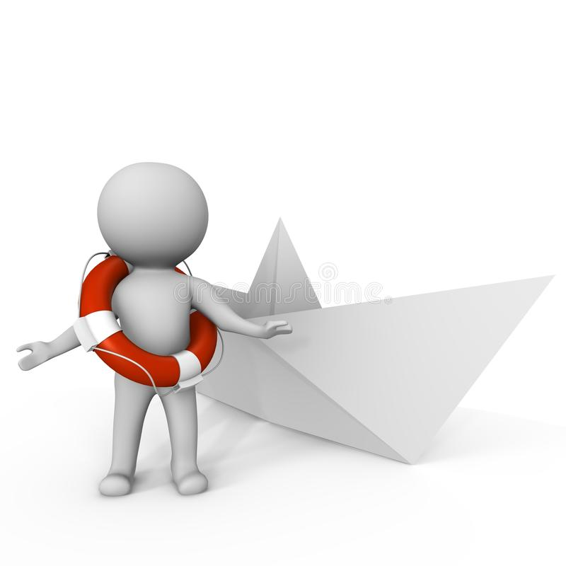 Human with life buoy and paper boat - 3d image vector illustration