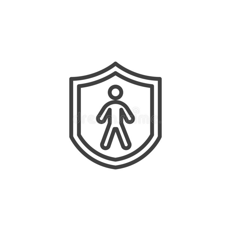 Human life insurance line icon royalty free illustration