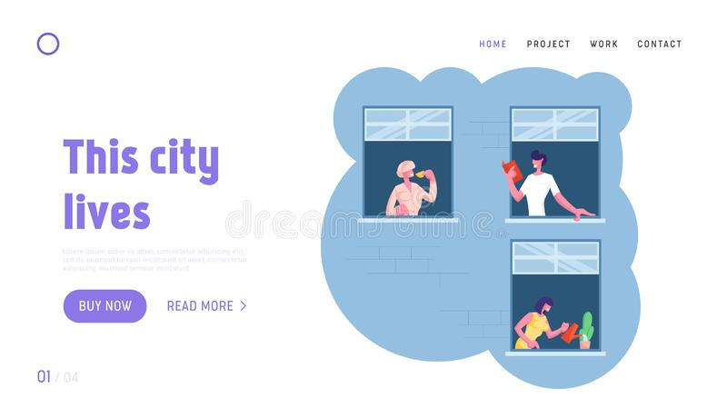Human Lifestyle Website Landing Page. Outer Wall of House with Different Young and Old People at Windows vector illustration