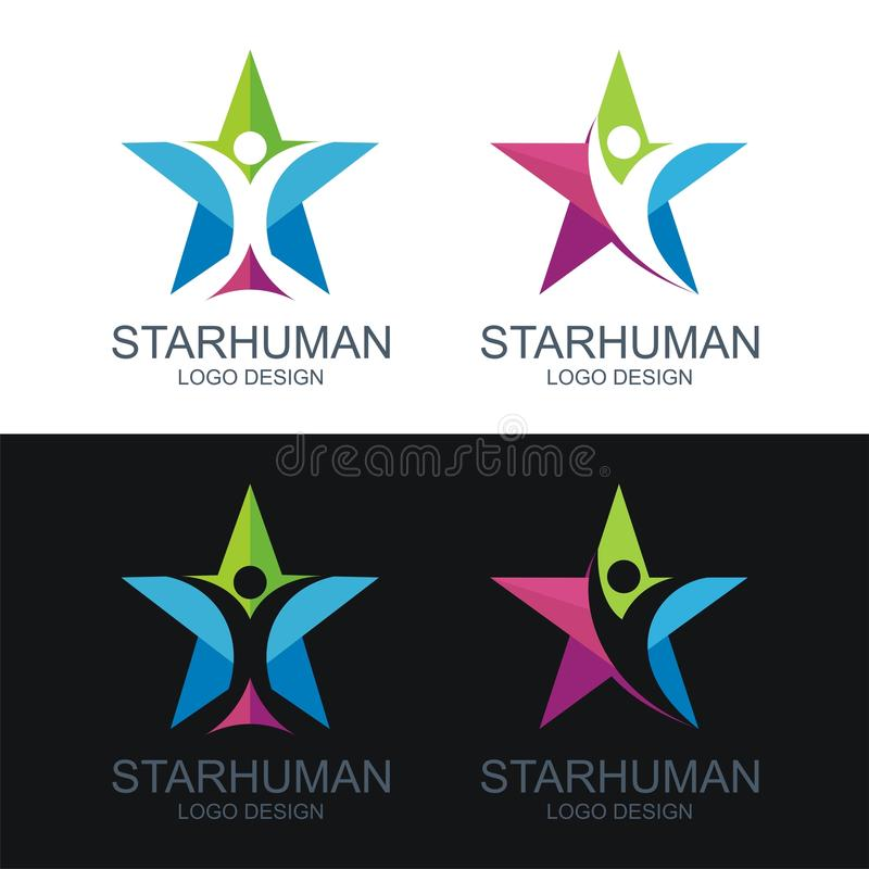Human logo, with the star design royalty free illustration
