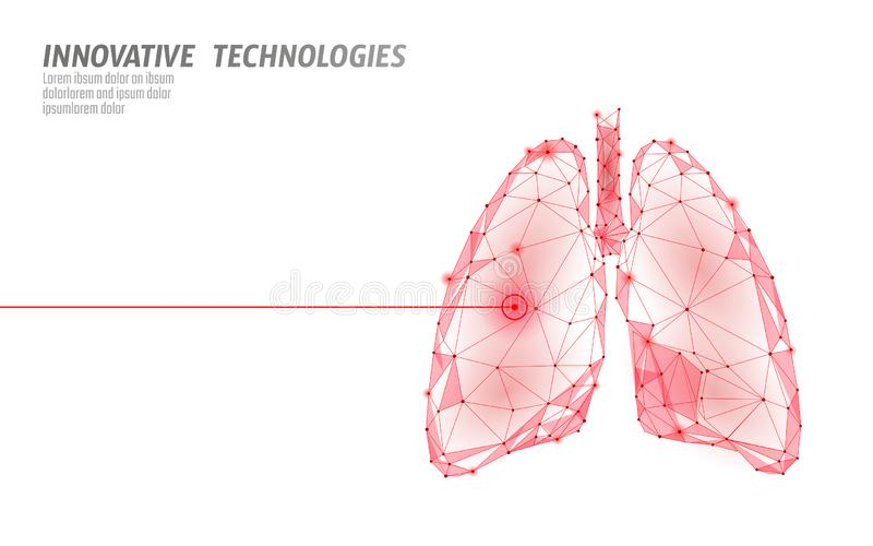 Human lungs laser surgery operation low poly. Medicine disease drug treatment painful area. Red triangles polygonal 3D. Render shape. Pharmacy tuberculosis royalty free illustration