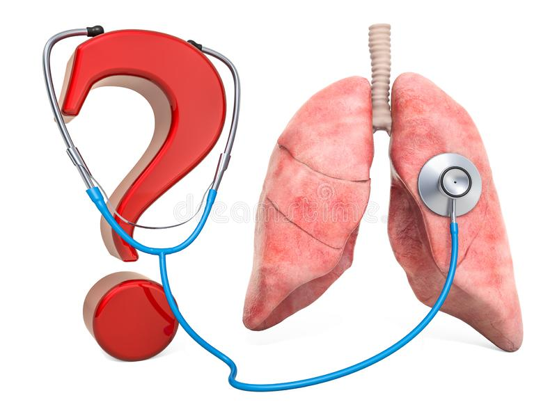 Human lungs with question mark and stethoscope. Diagnosis and treatment of lungs liver disease, concept. 3D rendering vector illustration