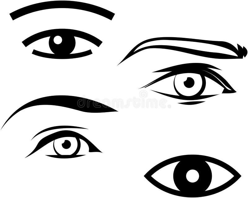Human male and female eyes illustration royalty free illustration
