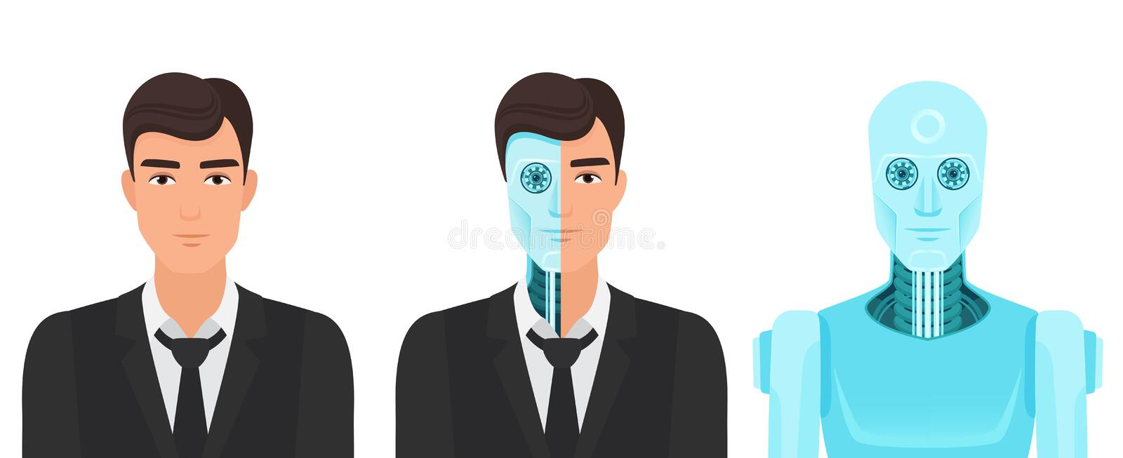 Human man turns into a robot. Forever life future reality of medicine transformation vector illustration. Human man turns into a robot. Forever life future royalty free illustration