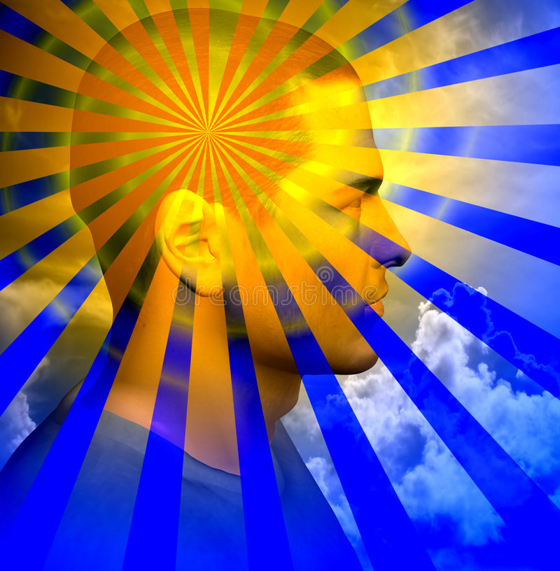 Human Mind. Rays radiate out from a mans head