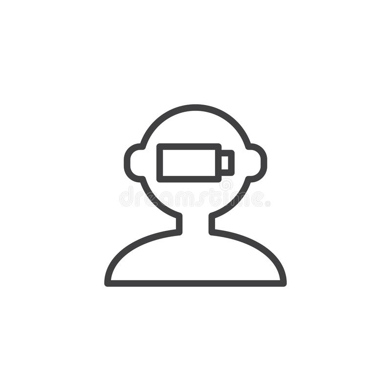 Human mind charge outline icon royalty free illustration