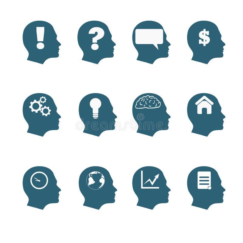 Human mind icons style flat design eps 10 stock illustration