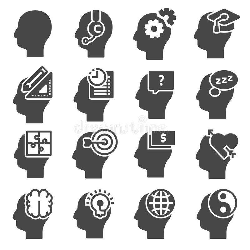Human mind process, people thinking, brain, mental health. royalty free illustration