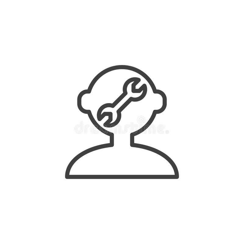Human mind repair outline icon. Linear style sign for mobile concept and web design. Human head and a wrench simple line vector icon. Symbol, logo illustration royalty free illustration
