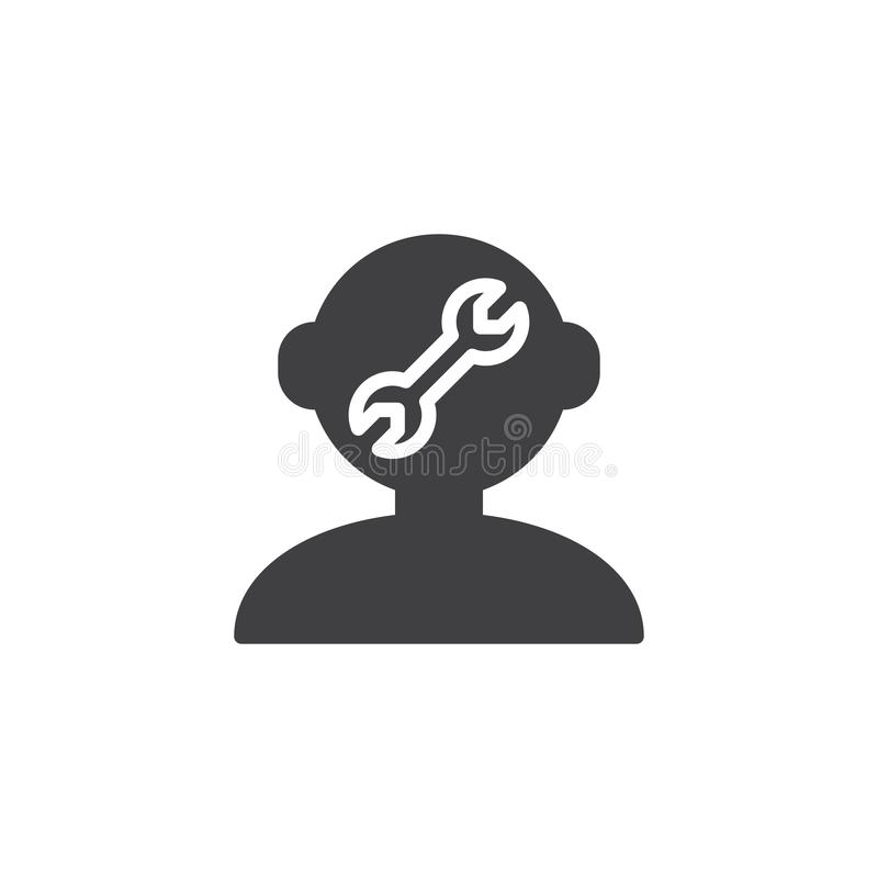 Human mind repair vector icon. Filled flat sign for mobile concept and web design. Human head and a wrench simple solid icon. Symbol, logo illustration. Pixel vector illustration