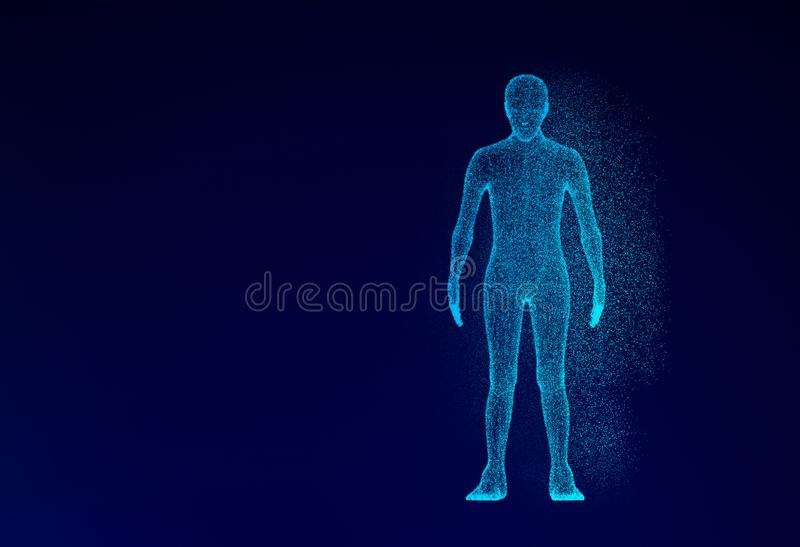 Human model on blue background in technology concept, artificial stock illustration