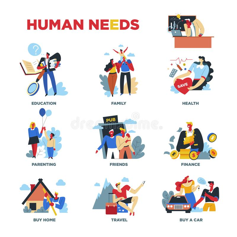 Human needs, material or spiritual, lifestyle and everyday routine royalty free illustration