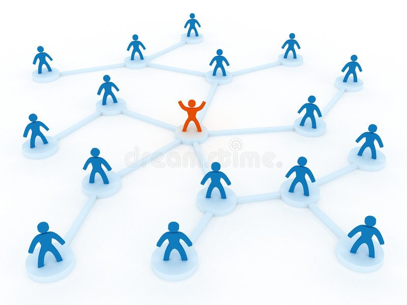 Human network. With one leader in the middle stock illustration