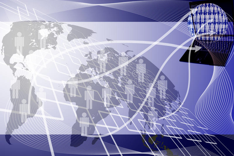 Human network send to laptop. Human network send to laptop for background vector illustration