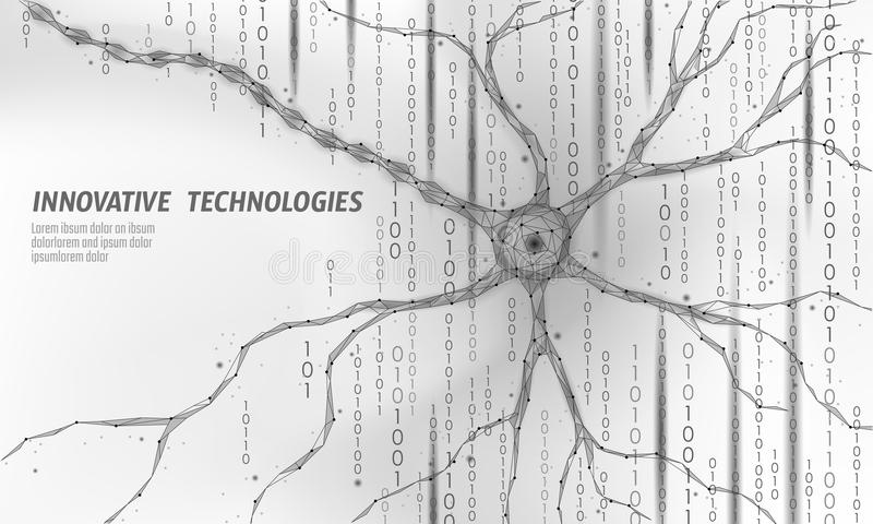 Human neuron low poly anatomy concept. Artificial neural network technology science medicine cloud computing. AI 3D stock illustration