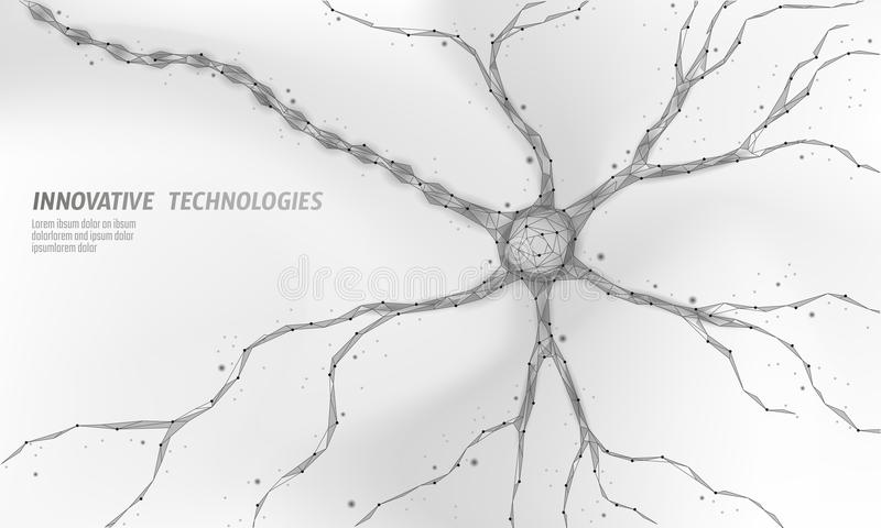 Human neuron low poly anatomy concept. Artificial neural network technology science medicine cloud computing. AI 3D. Abstract biology system. Polygonal white stock illustration