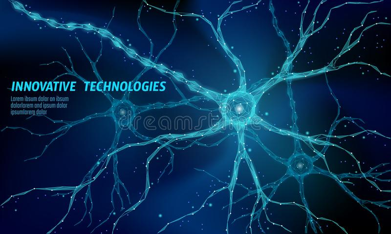 Human neuron low poly anatomy concept. Artificial neural network technology science medicine cloud computing. AI 3D. Abstract biology system. Polygonal blue stock illustration
