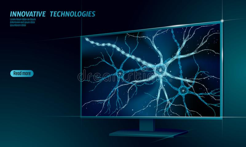 Human neuron low poly anatomy concept. Artificial neural network technology smart house display cloud computing. AI 3D royalty free illustration